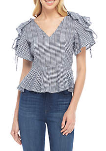 Gingham Tie Sleeve Cut-Out Back Top