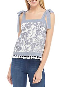 Lace Tie Shoulder Top