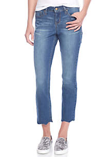 Petite Scallop Hem Cropped Jeans