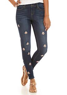 Beaded Skinny Denim Jeans
