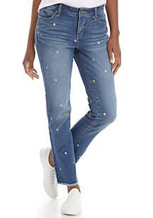 Foil Floral Denim Straight Leg Jeans