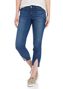 Petite Skinny Forward Slit Hem Jeans