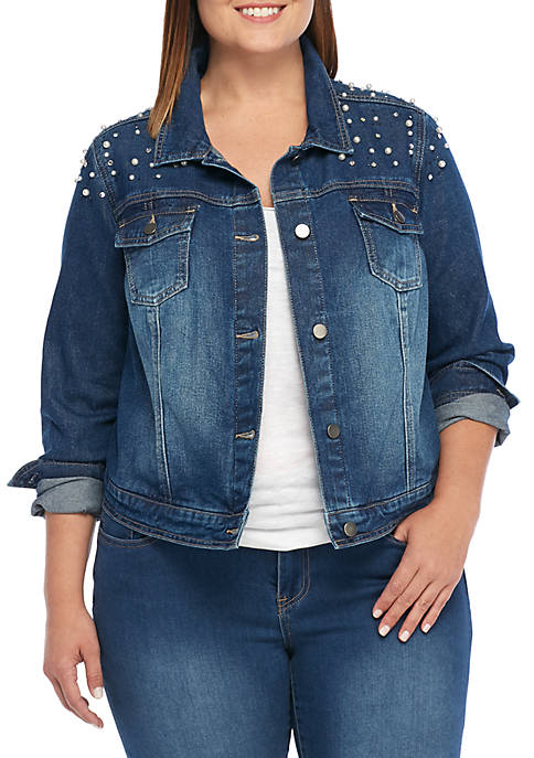Crown & Ivy™ Plus Size Pearl Denim Jacket