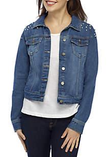 Petite Denim Jacket with Pearls