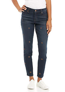 Retro Embroidered Skinny Jeans