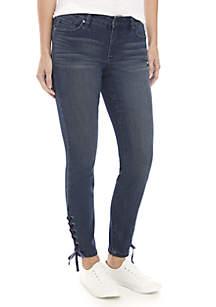 Crown & Ivy™ Velvet Lace-Up Skinny Jeans