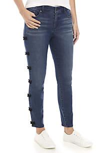 Velvet Bow Skinny Jeans