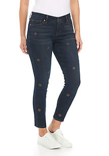 Petite Retro Embroidered Skinny Jeans