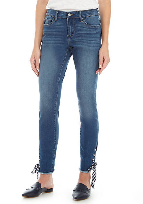 Crown & Ivy™ Gingham Lace-Up Skinny Jeans