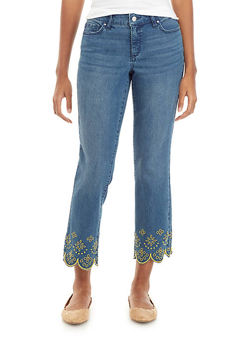 Crown & Ivy™ Straight Crop Jeans with Embellished