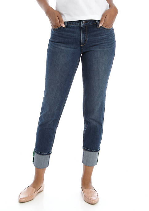 Crown & Ivy™ Girlfriend Jeans with Cuff Details
