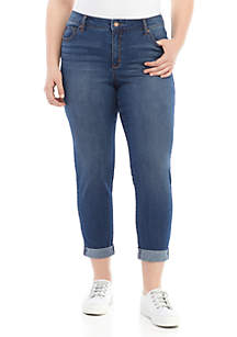 Crown & Ivy™ Plus Size High Rise Girlfriend Jeans