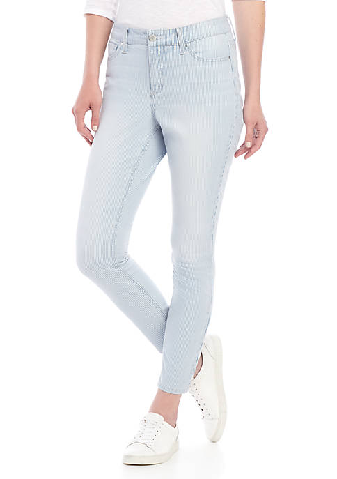 High Rise Stripe Skinny Jeans