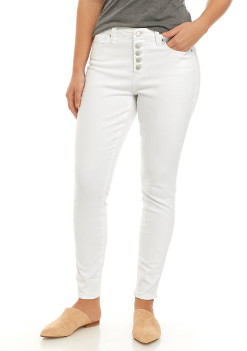 Crown & Ivy™ Womens Skinny Button Front Pants