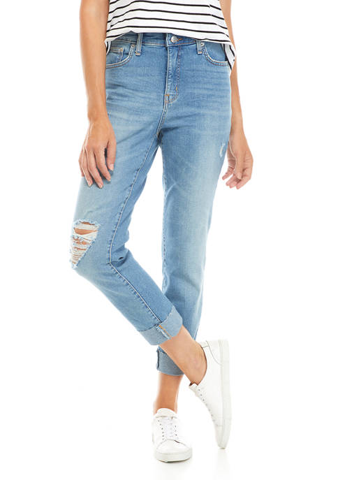 Womens High Rise Vintage Straight Destructed Jeans