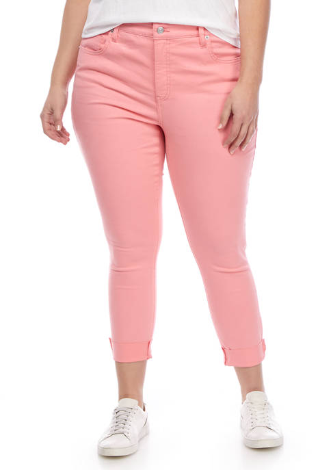 Crown & Ivy™ Plus Size Colored Denim Cropped