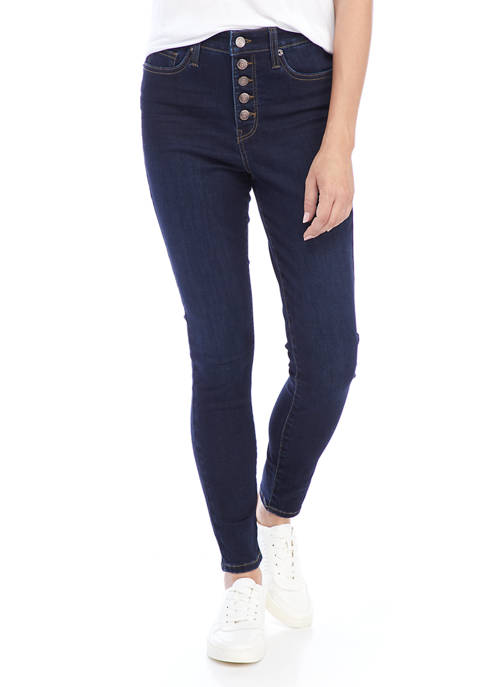 Crown & Ivy™ Womens High Rise Button Front
