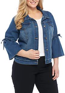 Plus Size Gathered Sleeve Denim Jacket