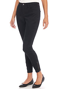 Sateen Pants with Zipper Detail