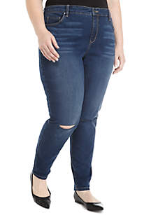 Plus Size Destructed Knee Slit Denim Jeans