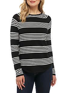 Triple Stripe Fine Gauge Crew Neck Sweater