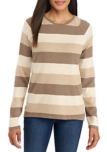 Fine Gauge Crew Neck Rugby Stripe Sweater