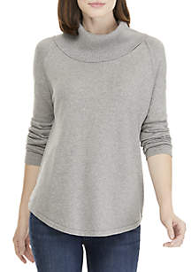 Fine Gauge Cowl Neck Solid Sweater