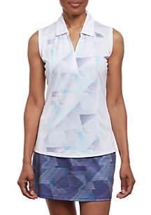 Sleeveless Geometric Printed Polo Shirt
