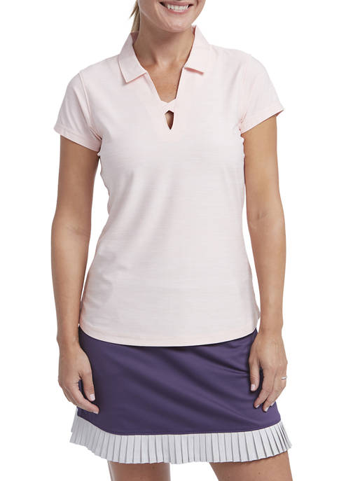 Womens Spacedye Short Sleeve Polo T-Shirt