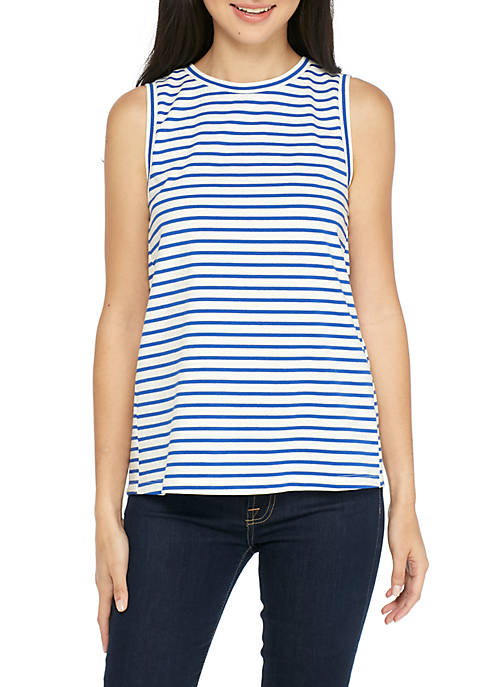 GOOD LUCK GEM Striped Split Tie Back Tank