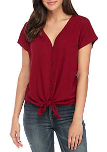 Short Sleeve V-Neck Rib Button Down Tie Front Top