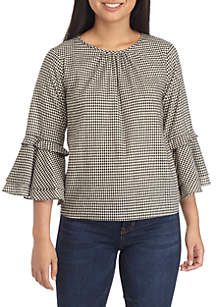 Bell Sleeve Woven Peasant Top