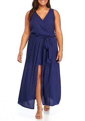 GOOD LUCK GEM Plus Size Belted Surplice Romper with Maxi Skirt ...