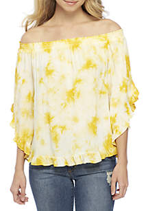 Off-the-Shoulder Tie Dye Woven Top