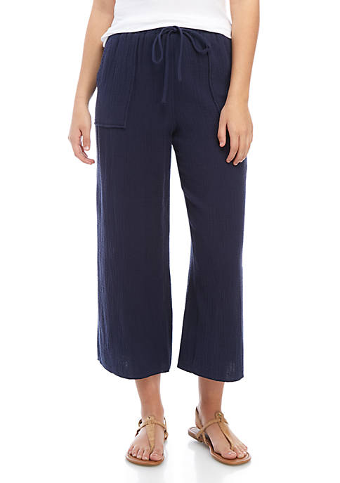 Cropped Textured Pants