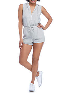 Zip Front Striped Romper