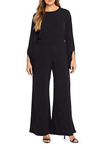 Plus Size Split Sleeve Jumpsuit