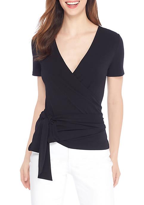 Petite Reversible Wrap V-Neck Blouse