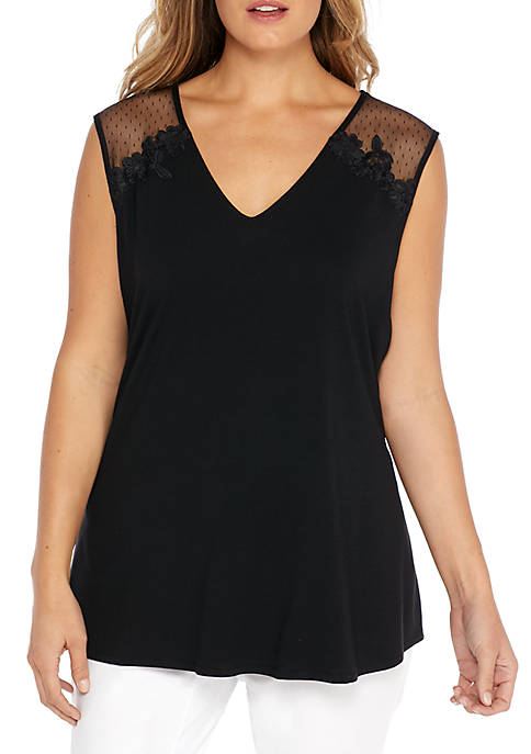 THE LIMITED Plus Size Sleeveless Sheer Shoulder Top