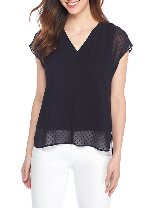 THE LIMITED Clip Dot Jacquard High Low Blouse