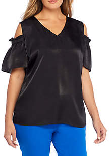 Plus Size Cold Shoulder Cap Sleeve Blouse