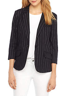 One Button Linen Blazer