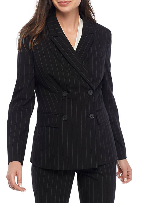 Womens Double Breasted Stripe Blazer