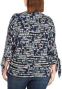 7b38ba7c3fb ... THE LIMITED Plus Size Printed Banded Bottom Knit Top