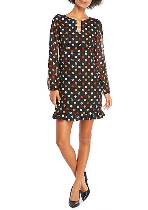 Ruffle Hem Dress with Bar Detail