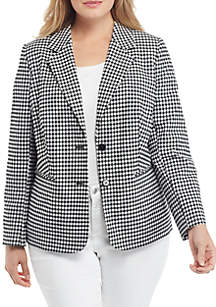 THE LIMITED Plus Size Two Button Blazer in Gingham