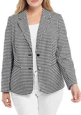 46cfbe331f392 THE LIMITED Plus Size Two Button Blazer in Gingham ...