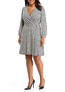 Plus Size Long Sleeve Tie-Waist Dress