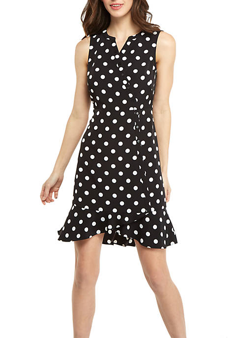 Sleeveless Button Surplice Ruffle Hem Dress