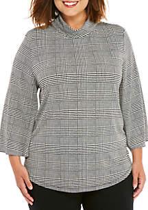 Plus Size 3/4 Sleeve Mock Neck Top
